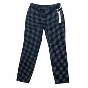 Kenar Size 4 Slacks Fitted Pants Navy Blue Pattern